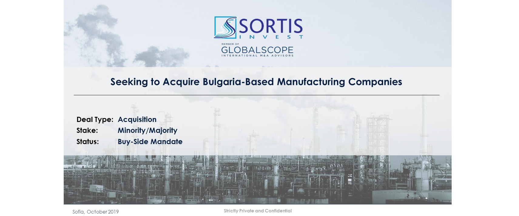 Seeking to Acquire Manufacturing Companies in Bulgaria